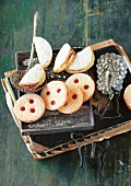 Gmunden cider biscuits and Linzer Augen (nutty shortcrust jam sandwich biscuits with holes on top), Austria