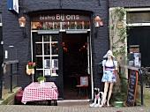 Entrance of Bistro Bij ons restaurant in Prinsengracht, Amsterdam, Netherlands
