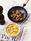 Potato gratin with apples and mushrooms