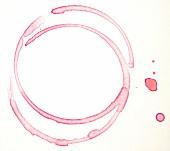 Rotweinabdruck vom Weinglas, Weinring, Weinrand