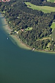 Simssee lake in Rosenheim, Bavaria, Germany, Aerial view