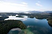 Aerial view of Eggstatt Hemhofer lake at Chiemgau, Bavaria, Germany