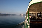 Tourist in ferry to Herrenchiemsee, Chiemsee, Bavaria, Germany