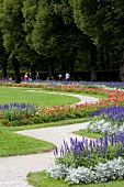 View of garden with flower at Herrenchiemsee New Palace, Chiemgau, Bavaria, Germany