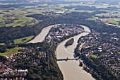 View of cityscape with Wasserburg am Inn in Rosenheim, Bavaria, Germany, Aerial view