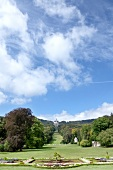 Castle garden overlooking mountains and sky at Kassel, Hesse, Germany
