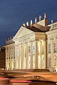 Facade of Fridericianum illuminated in evening, Kassel, Hessen, Germany
