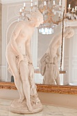 White stone porcelain figure at Lock Wilhelm height, Kassel, Hesse, Germany