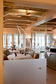 Dining room through glass with ferry motif at Munkmarsch, Sylt, Germany