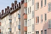 Kidney shaped balconies in buildings at Kassel, Hesse, Germany