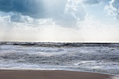 View of stormy north sea, Sylt, Germany