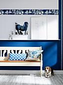 Hund neben rustikaler weißer Holzbank vor blau-weisser Wand mit Bordüre