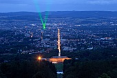 Illuminated view of laserscape of Wilhelm height Hesse, Kassel Germany