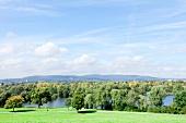 View of Fuldaaue and BUGA lake at Kassel, Hesse, Germany