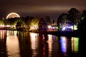Illuminated view of Small Fulda, Karlsaue, Kassel, Hesse, Germany