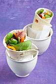 Roast beef and salad wraps