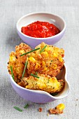 Corn cakes with a tomato dip