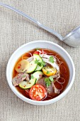 Spicy noodle soup with beef