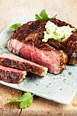 Beef steak with wasabi butter