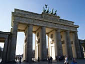 View of Historic Brandenburg gate and tourist, Mitte, Berlin, Germany