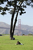 People in lawn area against Golden Gate Bridge, San Francisco, California, USA