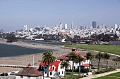View of beach and cityscape of San Francisco, California