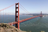 View of landscape with sea and Golden Gate Bridge in San Francisco, California, USA