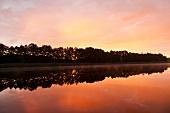 View of lake at dusk, Bradenburg, Germany