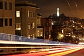 Illuminated street and building at night in San Francisco, California, USA, long exposure