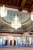 Interiors of Sultan Qaboos Grand Mosque with chandelier, Muscat, Oman