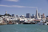 View of cityscape with sea in San Francisco, California, USA