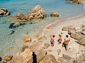 Elevated view of Baja Trinita beach, La Maddalena Island, Sardinia, Italy