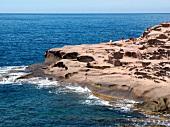 View of west coast of Mediterranean Sea in Sardinia, Italy