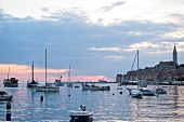 View of moored boats at harbour in Istria, Rovinj, Croatia