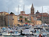 View of Alghero port with houses in Mallorca, Spain