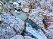 Sardinien, Barbagia, Supramonte, Wasserquelle, Wasserfall, Detail