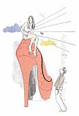 Illustration, Frau sitzt auf High Heels, Mann schaut sie an