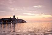 View of sea at dusk in Porec, Istria, Croatia