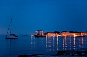 View of Porec sea at night in Istria, Croatia