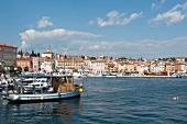 View of Rovinj, harbor and sea in Istria, Croatia