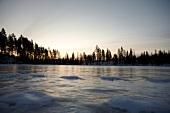 Lappland, Landschaft, See, gefror en, vereist, Sonnenuntergang