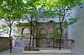 View of patio in St. Columba, Altstadt-Nord, Cologne, Germany