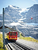 View of mountain railway and landscape in Alps, Switzerland