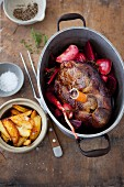 Leg of lamb with root vegetables and potatoes