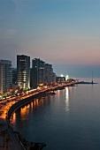 View of Corniche El-Manara skyline at waterfront, Beirut, Lebanon