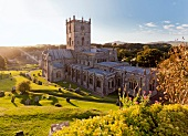 Elevated view of St David's cathedral in Pembrokeshire, Wales, UK