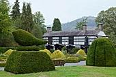 View of topiary in garden of Plas Newydd Museum, Llangollen, Denbighshire, Wales