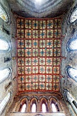 Upward view of St David's Cathedral ceiling, Wales, UK