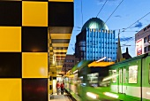 Stone gate Square Shopping Centre and Anzeiger Hochhaus, Hanover, Germany, blurred motion