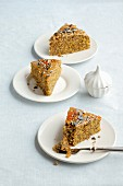 Pumpkin cake with poppy seeds and almonds